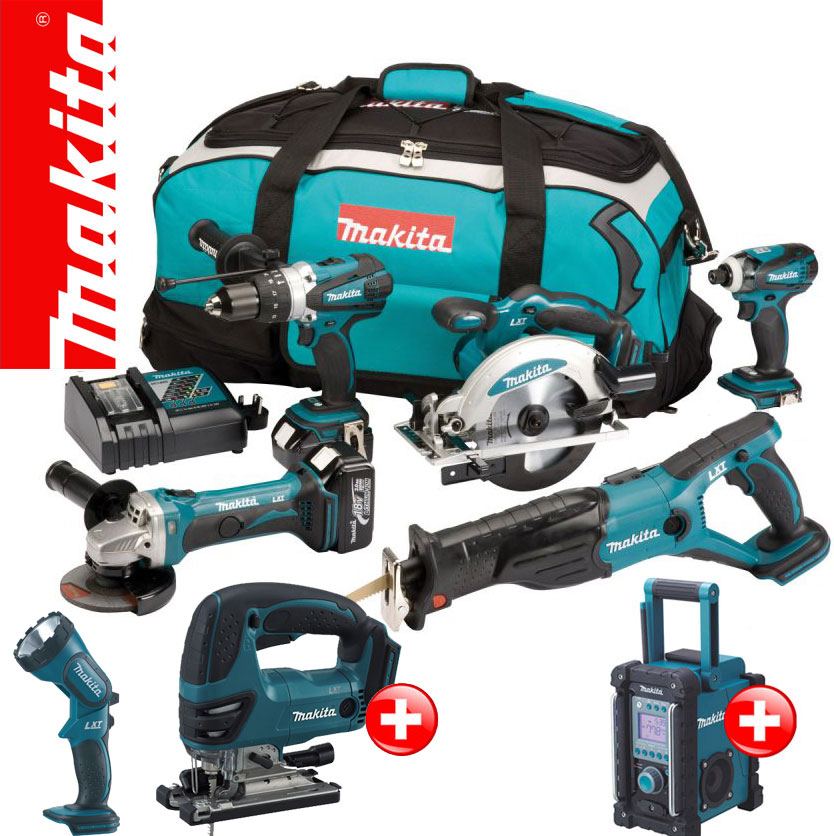 makita 12tlg 18v profi akku set dmr102 djv bjv180 stichs ge z rfe rf rfj ebay. Black Bedroom Furniture Sets. Home Design Ideas