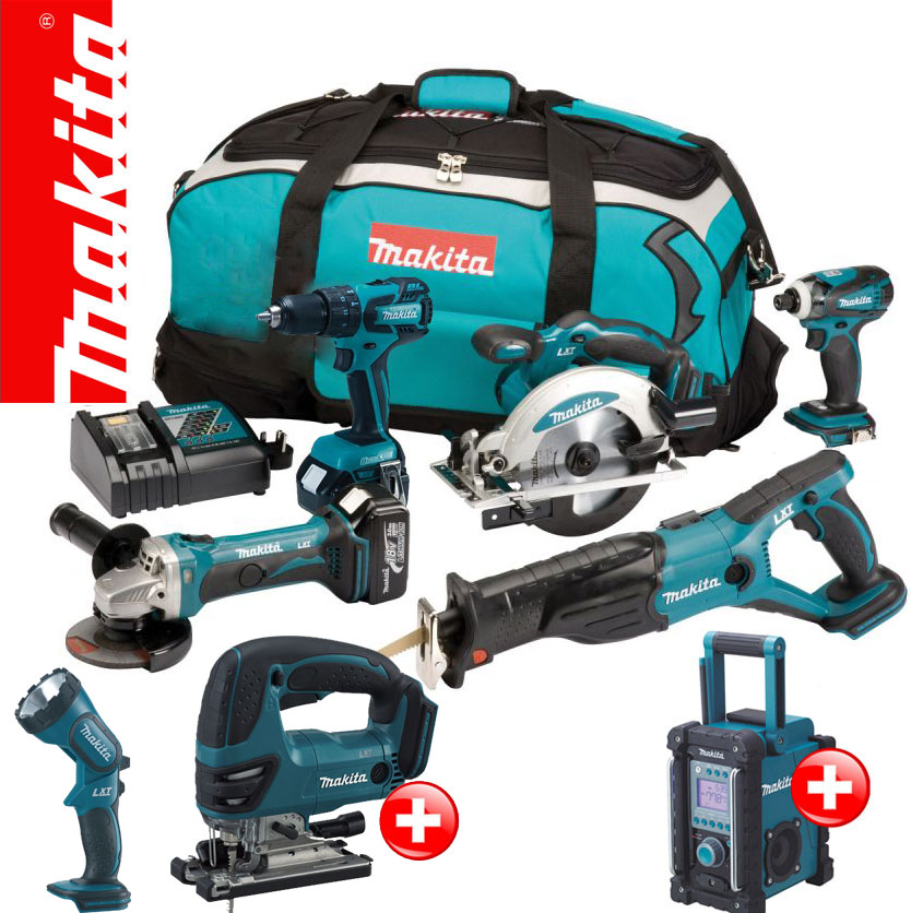 makita 12tlg 18v profi akku set bmr102 bhp459 djv bjv180 stichs ge rf rfe y1j ebay. Black Bedroom Furniture Sets. Home Design Ideas